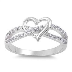 Sterling Silver Women's Flawless Colorless Cubic Zirconia Infinity Knot Wedding Promise Heart Ring (Sizes 3-12) (Ring Size 13)