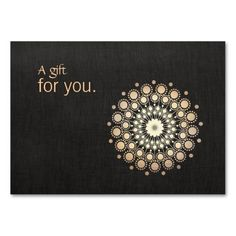 "Gift card - ""Vector illustration of gold leaf mandala inspired motif on digital image of black linen background. Original illustration by Maura Reed.  A versatile elegant coupon card appropriate for many different holistic and alternative medicine professions."""