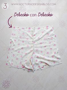 Costura fácil paso a paso. diy short de pijama. costura para principiantes. Tutorial de costura. Sewing Shorts, Sewing Clothes, Design Blog, Boho Shorts, White Shorts, Gym Shorts Womens, Underwear, Swimwear, Planes