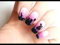 Nail-art dégradé et ombres chinoises - YouTube