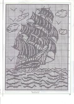Clipper ship cross stitch patternIvelise Hand Made: Boat In Filet Crochet . Crochet Curtain Pattern, Graph Crochet, Filet Crochet Charts, Crochet Curtains, Crochet Motifs, Crochet Tablecloth, Crochet Cross, Tapestry Crochet, Thread Crochet