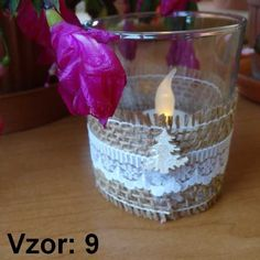 Sklenený svietnik Jarko - Sviečka - S čajovou sviečkou LED (plus 1€), Vzor - Vzor 9