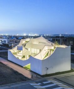 IROJE KHM builds 'flying house' for a pilot near incheon's international airport Water Architecture, Modern Architecture House, Amazing Architecture, Architecture Details, Modern Houses, Tiny Houses, Unique Buildings, Beautiful Buildings, Facade House