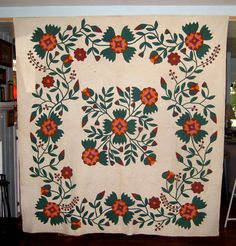 Antique Applique Quilt Central Medallion 1840'S | eBay