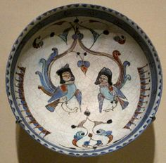 Bowl depicting two harpies, winged spirits, from the Seljuq dynasty that ruled Persia, Mesopotamia and parts of Anatolia in the 11th and 12th century CE. The bowl dates back to late 12th - early 13th century CE. With Persian poetry verses on the exterior:  Beware, O friend, things have gotten out of hand.  In knowing our days have been lost.  I had silver and gold, patience and sobriety.  In the grief infected by you, all for have been lost.  Arthur M. Sackler Museum of Harvard University…