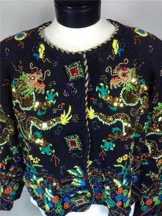 MICHAEL SIMON CHINESE DRAGON SEQUIN Sweater Vintage early 90s #MICHAELSIMON #Cardigan