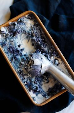 Beautiful vegan coconut ice cream with hints of lavender and swirls of wild blueberries.