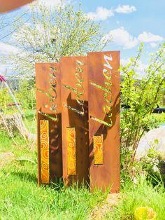 Gartenstecker Blume Metall Gartendeko Edelrost rostige Gartendekoration 131cm