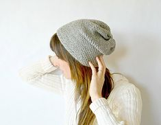 This is a super simple, slightly slouchy beanie. There is no increasing or decreasing and it is all done with simple single crochet and chain stitches. The hat starts with a chain, and is slip stitched to join and worked in the round. It almost looks knit or woven, and is very cute for a teen or anyone who loves trendy styles.