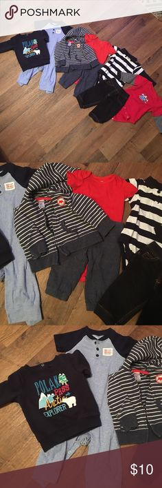 6-9 Month Bundle baby boy! Cute 9 month baby boy bundle! Jumper, sweat shirt, Outfit with jacket & onesie, 2 long sleeve onesies & pair of jean leggings for boy. Smoke free & pet free home. Great condition!  Most is Carters brand. Carter's Matching Sets