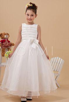 grande immagine 1 Vestido de primeira comunhão/ Vestido de daminha Cetim com Laço Tule overlay