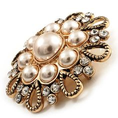 Vintage Wedding Imitation Pearl Crystal Brooch (Burn Gold Tone) * For more information, visit image link. (This is an affiliate link) #JewelryForSale