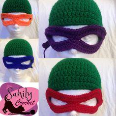 Gorro tejido Tortugas Ninja by Sahily Crochet $250