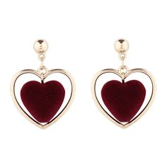 Valentine's Day Love Heart Vintage Earrings Wine Red ($30) ❤ liked on Polyvore featuring jewelry and earrings