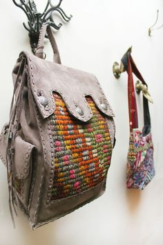 gorgeous handmade tapestry & leather bag