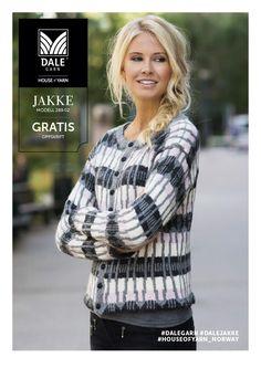 Jakke med stort mønster pattern by Dale Design Knitting Designs, Knitting Patterns Free, Free Knitting, Free Pattern, Crochet Cardigan, Knit Crochet, Nordic Sweater, Fair Isle Knitting, Knit Mittens