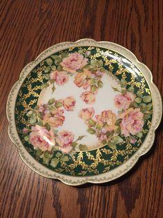 Empire China Vienna Austria Hand Painted Pink Yellow Roses Decorator Plate  #EmpireChinaViennaAustria