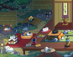 Neko Atsume Peaceful Nights Prints Available by Gryphon-Shifter on DeviantArt
