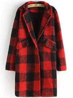 Red Black Lapel Plaid Woolen Coat
