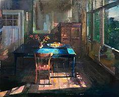 Kamer met blauwe tafel   schilderij in olieverf van Simeon Nijenhuis   Exclusieve kunst online te koop bij Galerie Wildevuur