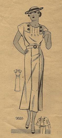 1930's women's dress pattern