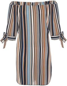 Quiz *Quiz Multi Coloured Striped Bardot Shift Dress Shift Dresses, dress, clothe, women's fashion, outfit inspiration, pretty clothes, shoes, bags and accessories