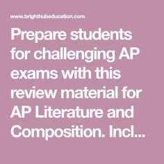 Prepare students for challenging AP exams with this review material for AP Literature and Composition. Includes two downloadable power points to aid in review. Ap English, English Class, English Lessons, Ap Exams, Ap Literature, Power Points, High School English, Composition, Students