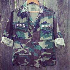 HIPSTER camouflage  army studded jacket by NewSpiritVintage, $65.00