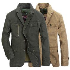 21575f443ea Mens Autumn Cotton Multi Pockets Single-breasted Casual Business Button  Blazers Jacket Outwear at Banggood
