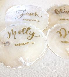 Love the idea of seashell place cards for the wedding reception! Luau Wedding, Wedding Reception, Wedding Dancing, Wedding Name Cards, Seating Chart Wedding, Seating Charts, Tiffany Wedding, Bridal Shoot, Table Cards