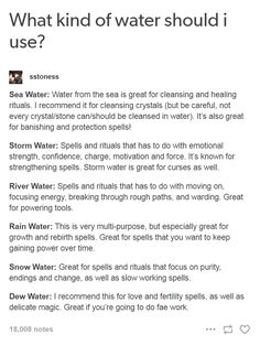 - Sea Water: Water from the sea is great for cleansing and healing rituals. I recommend it for cleansing crystals (but be careful, not every crystal/stone can/should be cleansed in water). Wiccan Spell Book, Wiccan Witch, Witch Spell, Wiccan Art, Wiccan Crafts, Spell Books, Witchcraft Spells For Beginners, Magick Spells, Wicca For Beginners