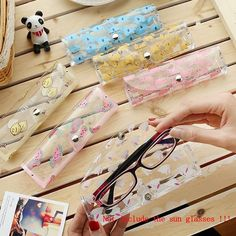 1pcs Cartoon Animals Transparent Plastic Eye Glasses Protector Case With Metal Button Sunglasses Box Fruit Animal Pencil Case Pencil Cases