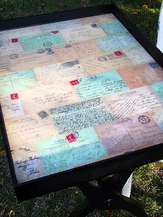 table top mod podge with fabric or paper