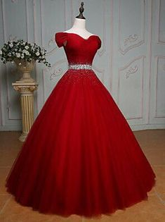 High Quality Off Shoulder Red Prom Dress,Red Tulle Evening Dress,Sexy Off Shoulder Sleeves Red Graduation Dress - High Quality Off Shoulder Red Prom Dress,Red Tulle Evening Dress,Sexy Off Shoulder Sleeves Red Graduation Dress Source by SaymilinNookuma - Red Ball Gowns, Ball Gowns Prom, Ball Gown Dresses, Tulle Ball Gown, Wedding Gowns, Wedding Venues, Flapper Dresses, Red Wedding Dresses, Red Gowns