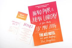 Oh So Beautiful Paper: Ngaio + Julian's Hand Lettered Ombre Wedding Invitations