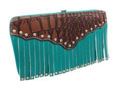 Turquoise Blue Studded Fringe Hard Wallet Brown Mock Croc Trim | eBay