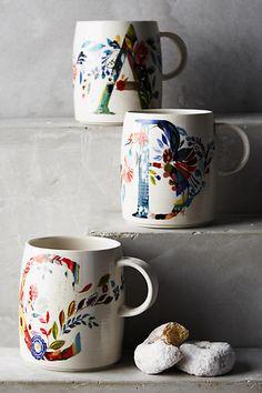 Petal Palette Monogram Mug - anthropologie.com