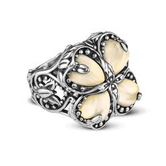 Carolyn Pollack Sterling Silver Gold Mother of Pearl Heart Ring >>> To view further for this item, visit the image link.-It is an affiliate link to Amazon. #Rings