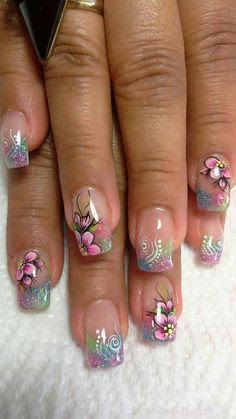 25 trendy floral nail art designs for summer 2 Acrylic Nail Designs, Nail Art Designs, Acrylic Nails, Fancy Nails, Trendy Nails, Nagellack Design, Floral Nail Art, French Tip Nails, French Tips
