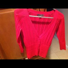Red cropped sweater Red,3/4 sleeve cropped sweater. Like new Sweaters