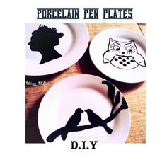 Porcelain Pen Plate Tutorial {Freehand, use a stencil etc.} via Twigg Studios. Kids Silhouette, Silhouette Projects, Glass Ceramic, Ceramic Art, Dollar Tree Plates, Pebeo Porcelaine 150, Porcelain Pens, Doodle, Diy Craft Projects