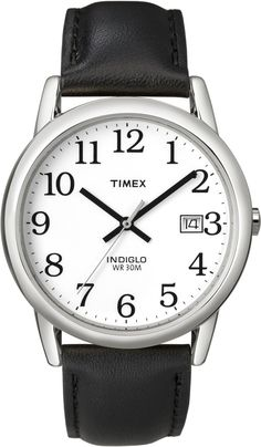 Timex Men's T2H281 Easy Reader Black Leather Strap Silver-Tone Case Watch, (watches, timex men, casual watch, easy to read watch, indiglo, timex watch, easy to read, simple, easy, classic watch)