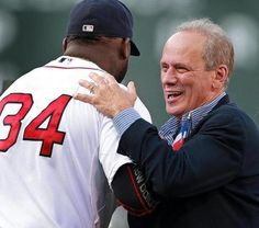 Red Sox president and chief executive Larry Lucchino greeted David Ortiz at the Pedro Martinez jersey retirement ceremony last week. Lucchino said Saturday that he'll retire from those posts at season's end. David Ortiz, Chief Executive, Larry, Retirement, Presidents, The Incredibles, Posts, Seasons, Amazing