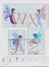 Butterfly Fairy Initials 7 end (Claire Crompton ''Fairy Alphabet Birthday Book'') Cross Stitch Letters, Cross Stitch Boards, Cross Stitch Art, Cross Stitch Designs, Cross Stitching, Cross Stitch Embroidery, Embroidery Alphabet, Embroidery Patterns, Stitch Patterns