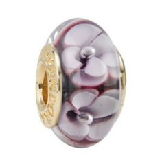 Pandora Butterfly Flowers Red Brown And White Murano Glass Bead DY751349