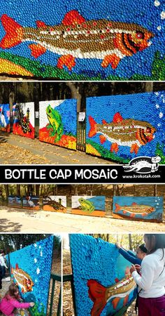 An amazing collaborative art project for ki… Colorful plastic bottle caps mosaic. An amazing collaborative art project for kids! Plastic Bottle Tops, Plastic Bottle Crafts, Bottle Cap Crafts, Plastic Art, Bottle Caps, Recycled Plastic Bottles, Plastic Bottle Flowers, Bottle Cap Projects, Plastic Spoons