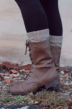 Lace up combat boots with cuffs and leggings. Cute and rugged for every day style!