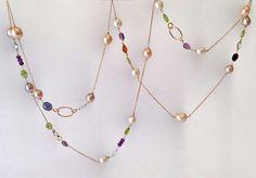 18K gold - gems - pearls