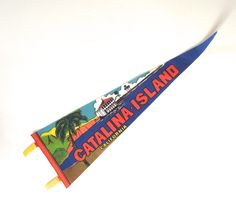 Catalina Island Souvenir Pennant, Large Vintage Printed Felt Flag from California by planetalissa on Etsy