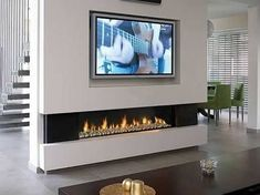 Impressive Modern Electric Fireplaces Tv Stand Best Fireplace Wall Ideas On Within Modern Fireplace Tv Stand Modern Wall Units With Fireplace, Tv Above Fireplace, Linear Fireplace, Living Room With Fireplace, Fireplace Design, Fireplace Ideas, Bioethanol Fireplace, Faux Fireplace, Propane Fireplace Indoor